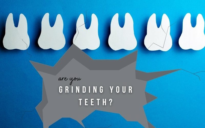"""Six teeth are in a row across a blue background while a grey break in the blue says """"are you grinding your teeth?"""""""